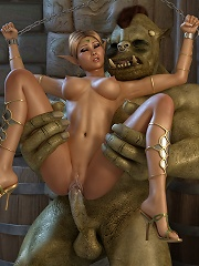 3D Doll gets licked by hot 3D Moster