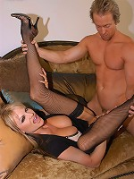 Kelly gets fucked on the couch in black thigh highs!