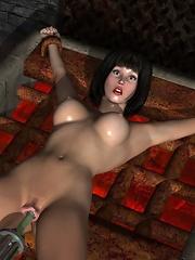 3D Streetwalker gets her tits banged