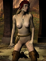 Pirate Becky getting naked in the forest