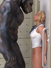 Dick girl getting screwed by 3D Mutants cock