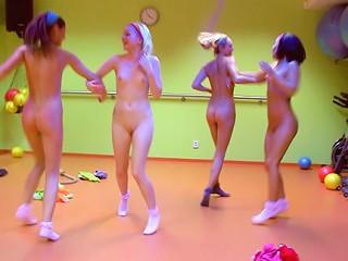 Crazy Skinny Teenies Undressing & Fucking Guy In Pilates Studio