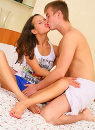 Playful teen cutie takes hard cock from behind