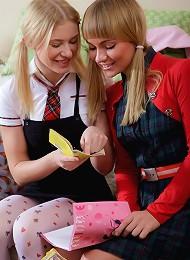 Two blonde chicks having hot lesbian sex