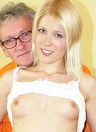 Blonde pleasuring his solid cock
