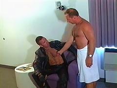 Hairy cop blows his partners schlong