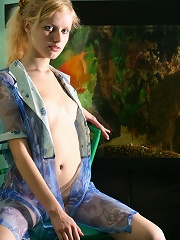 Innocent looking blonde exposes every part of her petite body