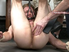 Straight dude gets his foot tortured and ass fucked with a buttfucking machine