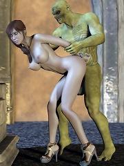 Brunette 3D Belle was fucked in her butt by Monster