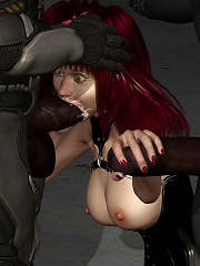 Nasty 3D Princess shows her ass and blowjobs