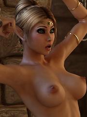 Seductive and sexy 3D mistress bursts orgasm