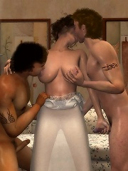 Slut gets stripped and forced to blow 3D master