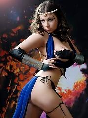 Busty brunette warrior babe taking off her blue dress