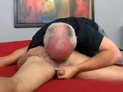 Mature gay Jake serviced muscled guy here