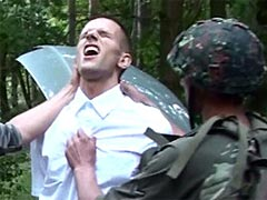 Perverted gay soldiers bring this cute lad in suit to hardcore fetish game with wild anal fucking