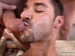 Nasty gay men in a hot threesome action. Wild gay threesome fucking clips