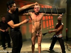 Handsome Trent Diesel gets bound, receives cocks and bukake in all directions, and loving it.