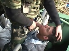 Two pervered army men use this cute boy on these wild military fetish videos
