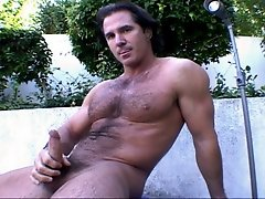 Lustful brunette stud Scott Styles showing his cock and body