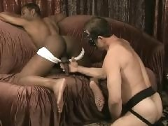 White guy pleases black gay cock and ass with his hands and tongue on these free gay fetish videos