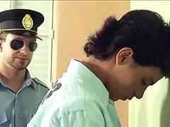Nasty older policeman stroking his jail pet's pecker