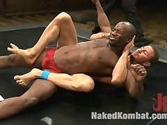 Two muscular studs fight all out and rip off each other's jocks.