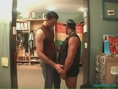 Beefy latin stud kisses a muscle chest of his hairy buddy then goes down on him and rides his fabulous schlong