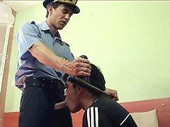 Twinky boy takes a deepthroat of an older policeman