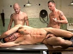 Hot gay clips of Luke Riley and Jesse Alan tying up and fucking DJ in the slaughterhouse.