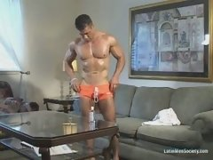 Hot movies of a sexy latin hunk taking off his pants and enjoying jerking off