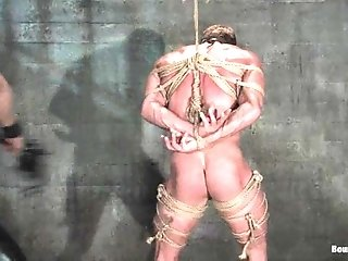 Muscular Faggot Gets Bound And Face-fucked In A Basement