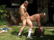 Muscle hairy bears fuck doggy style outdoors