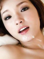 Innocent Mei Harukas trimmed pussy split by cock