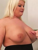 Ultra busty young BBW blonde with hot tattoos ends up with her employers cock inside