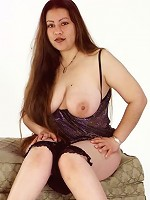 Long Haired Ass Fat Chick Posing and Stripping Black Undies