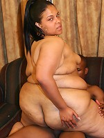Huge BBW model stretching her fat covered pussy and cramming it with a big black cock