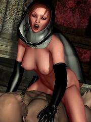 Sexy Bitch licks Priests cum spurting penis