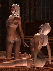 Attractive Elven Priestess feels Dark Elf