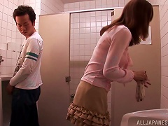 Cute Asian Babe Gets A Ride In The Uni Sex Toilets