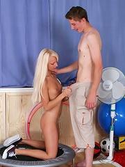 Pretty blonde hottie spreads legs and feels dick in holes.