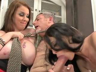 Horny Sluts Angelina Black And Desiree Deluca Give Double Blowjob To An Old Fart