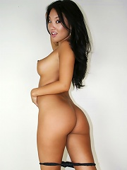 Asa Akira is a Japanese American bombshell with a beautifully shaved pussy. Her tits are round and supple, too, perfect for