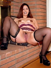 Chubby Red-Haired on Thongs Spreading and Showing Pussy Lips