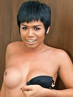 Fit feisty ladyboy spunks all over herself