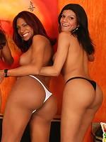 Lovely brunette tranny in hot foursome