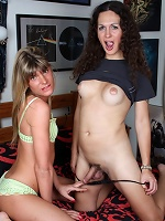 Irresistible transsexual babes playing with each other