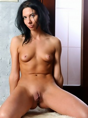 Skinny, yet dirty-minded brunette Sandra shows her tits and cunt