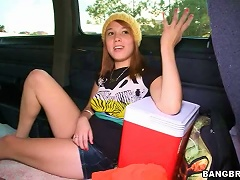 Redhead Teen Rides A Monster Cock In The Back Of The Bang Bus