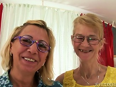 Blonde Grannies Milli And Beata Finger And Toy Each Other's Shaved Vags