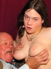 Crazy grandpa enjoying her pussy